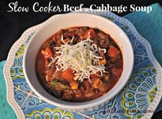 Slow Cooker Cabbage Soup - This has become my favorite crock pot soup. It is rich and hearty while being healthy. You will love the complex flavor of this soup and it is even better the next day!