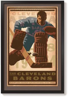 Cleveland Barons Giclee Print unframed and framed American Hockey League, Poster Prints, Posters, Hockey Teams, Sports Art, Etsy Shipping, Baron, Fine Art Paper, Cleveland