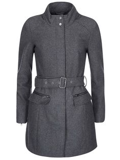 Tmavosivý kabát s opaskom ONLY Alanis
