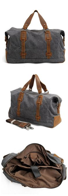 00c626694835 Leather Trimmed Waxed Canvas Travel Bag Duffle Bag Weekender Bag Canvas Weekender  Bag