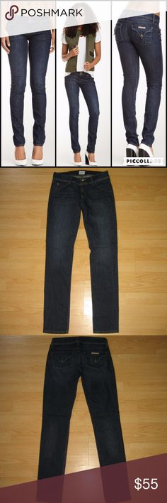 """Hudson Colin Flap Skinny Jeans in Monza These jeans are preloved but still in very good condition. They are the Colin Flap Skinny Jeans in Monza wash. Made of 88% cotton, 10% polyester, 2% spandex. Tag size is 27.  Waist across with natural dip is 14.25"""" Waist across when aligned is 14.75"""" Front Rise is 7.5"""" Inseam is 31.5"""" Hudson Jeans Jeans Skinny"""