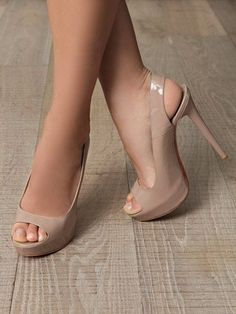 Women's Nude Peep Toe Platform Heels Slingback Stiletto Heels Pumps you best choice for Hanging out -TOP Design by FSJ Pretty Shoes, Beautiful Shoes, Cute Shoes, Pumps Heels, Stiletto Heels, High Heels, Nude Heels, Peep Toe Heels, Zapatos Shoes