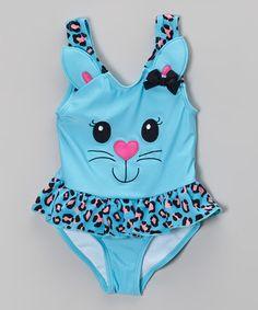 Look at this #zulilyfind! Blue Kitty Skirted One-Piece - Infant, Toddler & Girls by Candlesticks #zulilyfinds