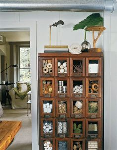 Old antique medical supplies cabinet wood display storage craft Living room Whitewashed Cottage chippy shabby chic french country rustic swedish decor idea.  ***Pinned by oldattic ***.