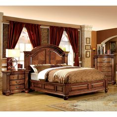 Furniture of America Traditional Style Antique Tobacco Oak Platform Bed | Overstock.com Shopping - The Best Deals on Beds
