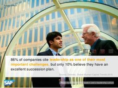86% of companies cite leadership as one of their most important challenges, but only 10% believe they have an excellent succession plan.
