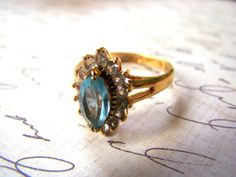 Vintage Gold Tone Blue Topaz Marquise with CZ by BanditsOutpost, $24.00