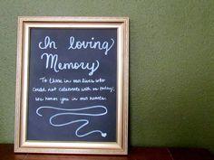 In loving memory Gold Hand Lettered Chalkboard Sign for Weddings