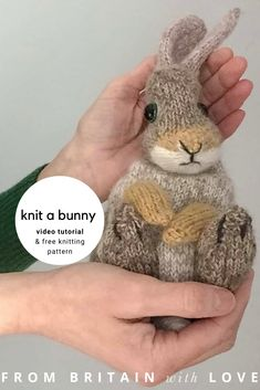 How to knit a bunny rabbit - free pattern & tutorial - From Britain with Love, How to knit a bunny rabbit. Click through for easy step by step tutorial and free knitting patter to make a knitted easter bunny rabbit. Knitted Bunnies, Knitted Animals, Knitted Baby, Animal Knitting Patterns, Crochet Patterns, Stitch Patterns, Free Knitting, Baby Knitting, Vintage Knitting