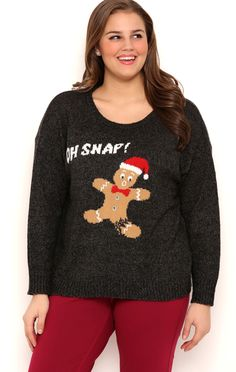 Deb Shops Plus Size Long Sleeve Gingerbread Holiday Sweater with Oh Snap Screen $16.75