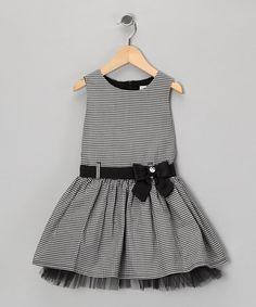 {Black & Ivory Kotak Bow Dress - Toddler & Girls by Donita}