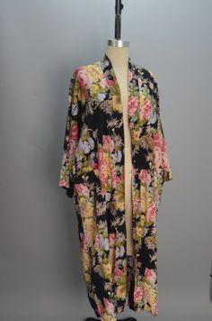 Vintage floral cotton robe Christian Dior black rose by melsvanity, $68.00