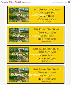 Printable Bookmarks, Country Lane Painting, Quote By Tolkien, Landscape Art, INSTANT Download on Etsy, £1.83