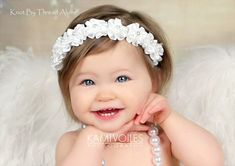 White floral crown wreath pearl flowers angel par knotbythreadalone