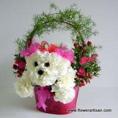 Puppy floral arrangement.