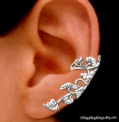 925. Art Nouveau Stream  - Sterling Silver ear cuff earring, Non pierced leaf and flower earcuff jewelry 011313. $49.00, via Etsy.