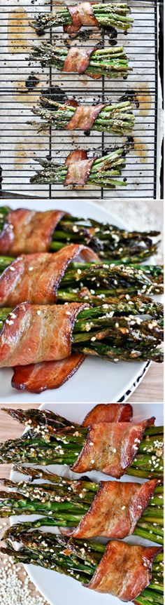 Asparagus Bundles - bacon wrapped and drizzled with sesame glaze I howsweeteats.com