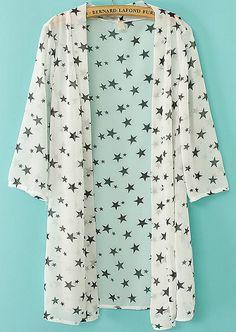 White Long Sleeve Stars Print Chiffon Blouse