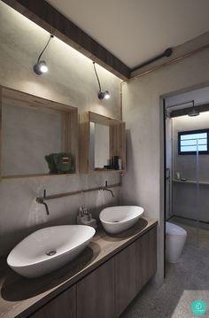 Industrial-style bathroom