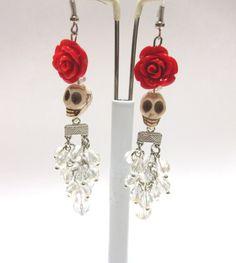 Day Of The Dead Earrings Sugar Skull Waterfall by sweetie2sweetie, $14.99