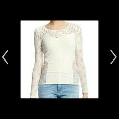 Free people Sweet Thang cream Lace top size medium Gorgeous new free people Sweet Thang cream colored blouse in size medium. Features criss-cross back detail with cutout and sheer lace inserts. Free People Tops