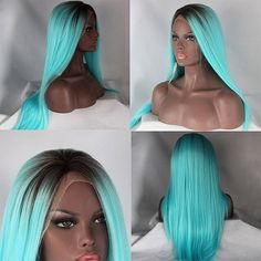 Ombre Blue/ Black Two Tone Straight Lace Front Wig (Synthetic)