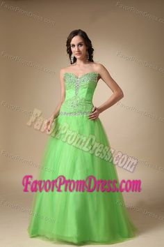 Sweetheart Beading Taffeta and Tulle Spring Green Puffy Prom Gowns