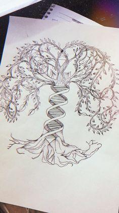 Árvore da vida celta DNA biologia tatuagem Dna Drawing, Pencil Art Drawings, Easy Drawings, Tattoo Drawings, Nature Tattoos, Life Tattoos, Yggdrasil Tattoo, Dna Art, Dna Tattoo