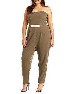 8d81de0b7024 Plus Size Strapless Jumpsuit with Metal Belt  Charlotte Russe