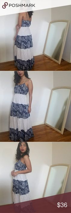 new| NAVY CREAM PAISELY PRINT DRESS Navy blue and cream peasant style dress.  Paisely print. Adjustable straps. This one actually doesn't fit me long like most other maxi dresses. Fits TTS.    Sizes available: S M l MODELING SIZE MEDIUM    PRICE FIRM Dresses Maxi