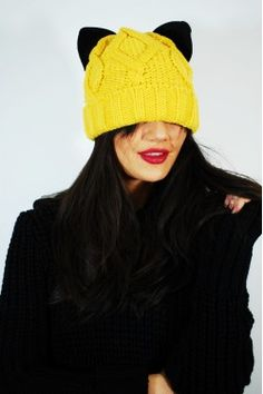 Caciula Cat Design Yellow Cat Design, Knitted Hats, Winter Hats, Beanie, Yellow, Knitting, Cats, Fashion, Moda
