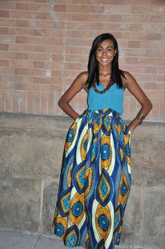 African Print Maxi Blue Medallion Maxi by CHENBURKETTNY on Etsy
