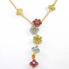 18K Yellow Gold Mutli Gemstone Flower Pendant Rolo Chain Link Necklace 16  1.5mm