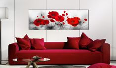 Pintura moderna Grey Garden 94785 additionalImage 4 Living Room Red, Small Living Rooms, Living Room Sofa, Rose Wall, Room Decor, Wall Decor, Hotel Interiors, Cool Art Drawings, Acrylic Art