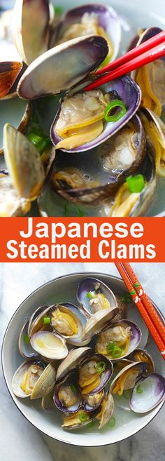 Japanese Steamed Clam - steamed Manila (Asari) clams with butter, Japanese sake and mirin. Briny, delicious and takes only 10 minutes. Clam Recipes, Fish Recipes, Seafood Recipes, Asian Recipes, Cooking Recipes, Japanese Clam Recipe, Japanese Dishes, Japanese Sake, Japanese Recipes