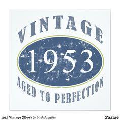 1953 Vintage (Blue) 13 Cm X 13 Cm Square Invitation Card