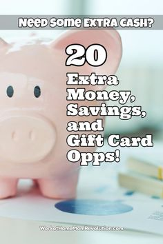 20 extra money, savings, and rewards opportunities (side hustles) Make extra cash with online surveys, mystery shopping, rewards programs, and savings apps! If you're a stay at home or work at home mom seeking a way to bring in some extra income, this is a great list of opportunities!