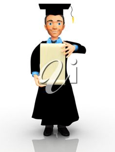 iCLIPART - 3D clip art illustration of a male graduate holding a banner or degree