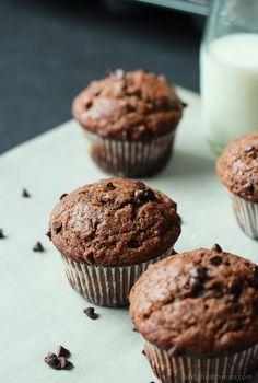 No Sugar, crazy moist, loads of chocolate flavor with great banana taste. These Skinny Double Chocolate Banana Muffins are the muffins of your dreams!   joyfulhealthyeats.com #recipes