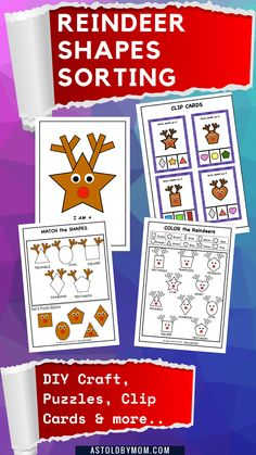 Reindeer Shape Sorting Matching Activity Puzzle for toddlers, kids and preschoolers or homeschoolers. A nice way to relate Reindeers and Shapes. A fun math activity which kids will LOVE. #preschool #preschoolmath #math #shapes #homeschool #kindergarten #prek #mathCenter #reindeer #craft #funmath