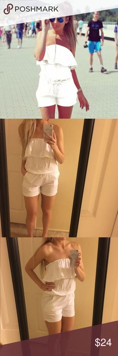 """💥FLASH SALE💥White Romper Adorable white strapless romper with pockets is a summer must have! Size is """"XL"""" but fits like a Large. Brand new, right from boutique retailer! Dresses"""