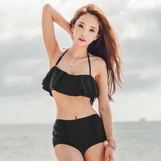 Sweet Black Halter Flounced High Waist Bikini For Women Cheap Swimsuits, Vintage Swimsuits, Women Swimsuits, Bikinis For Sale, Bikini For Women, Plus Size Bikini, Black Bikini, Beautiful, Swimwear