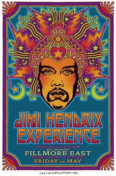 """Jimi Hendrix- Music Poster Print""""JH Experience-Filmore East""""- 8 x Wall Print- Ready To Frame-Vintage Musician Poster. Home-Studio-Bar-Dorm-Man Cave Decor. Perfect For All Hendrix & Rock Fans. Psychedelic Rock, Psychedelic Posters, Vintage Rock, Vintage Music, Rock Posters, Band Posters, Affiche Jimi Hendrix, Francisco Javier Rodriguez, Arte Hippy"""