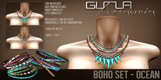 GizzA Boho Sets. Mesh jewelry with beading and (shark)teeth dangling loosely. Necklaces and bracelets are all included in the package.