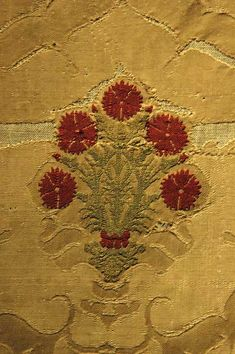 Textile fragment. Italy, late 15th c., Silk damask with pomegranate design and embroidered ornament of carnations.