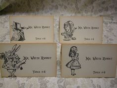 Alice in Wonderland Name Cards - Wedding, Birthday, Special Gathering - Custom - Red Queen, Mad Hatter, White Rabbit - Set of 40