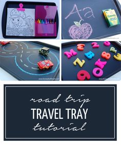 My kids are only 3.5 and 2 years old, and they don't quite play most travel games yet, so in order to keep them busy on our road trips, I made some Road Trip Travel Trays! I picked up two cookies sheets at the dollar store and spray painted them with Krylon Chalk Board paint- super simple! I love these trays because they are fun and multi-functional- let me show you a bunch of different options: Option 1: A COLORING TRAY I got some clamp magnets at the dollar store. The crayon holder is a...