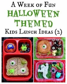 Creepy Halloween Food, Halloween Snacks For Kids, Halloween Treats For Kids, Fall Snacks, Halloween Dinner, Easy Halloween, Fun Packed Lunch Ideas, Easy Lunches For Kids, Kids Meals