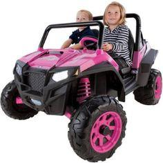 girls pink atv polaris 4 wheeler battery powered power wheels truck car kids pegperego