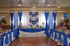 Источник интернет White Wedding Decorations, Backdrop Decorations, Backdrops, Head Table Wedding, Wedding Reception, Blue Wedding, Wedding Bells, Pastor Appreciation Day, Pastor Anniversary